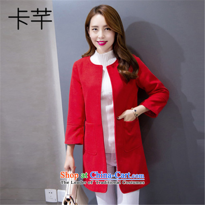 The autumn and winter 2015 Constitution card new women's gross? coats of autumn female jacket Korean Wild Women?1019?Red Jacket??L