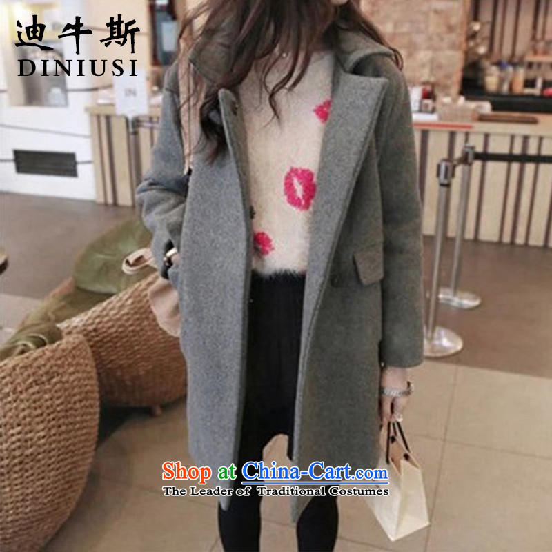 The achievement of the 2015 autumn and winter new leisure in the long hair of Sau San? long-sleeved jacket women a wool coat Gray?L