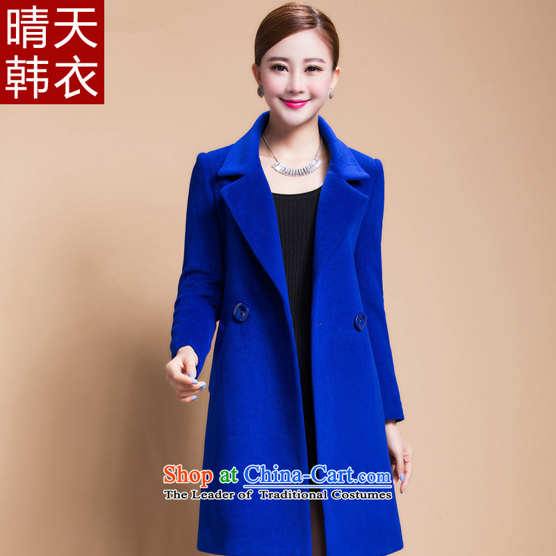 Sunny Korea�15 autumn and winter clothing new for women in long hair? jacket a wool coat Blue燤