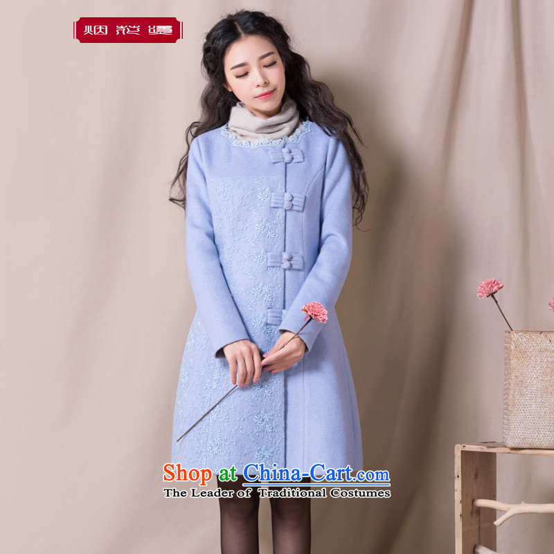 Fireworks Hot Winter 2015 new women in long hair retro overcoats Ching dream about water Blue燤 pre-sale