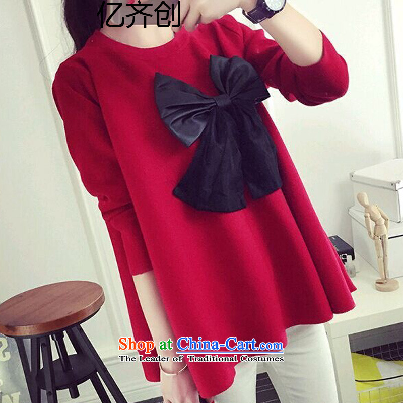 Create the new 2015 billion, Korean women forming the xl shirt female 200 catties thick mm autumn blouses thick sister long-sleeved T-shirt GT8068  XXXXL red