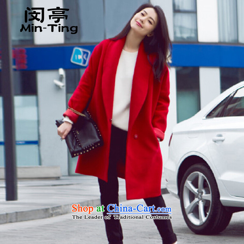 Min-European site large relaxd Gao Yuanyuan stars with style gross? jacket a wool coat girl in long red?S 105 catties within