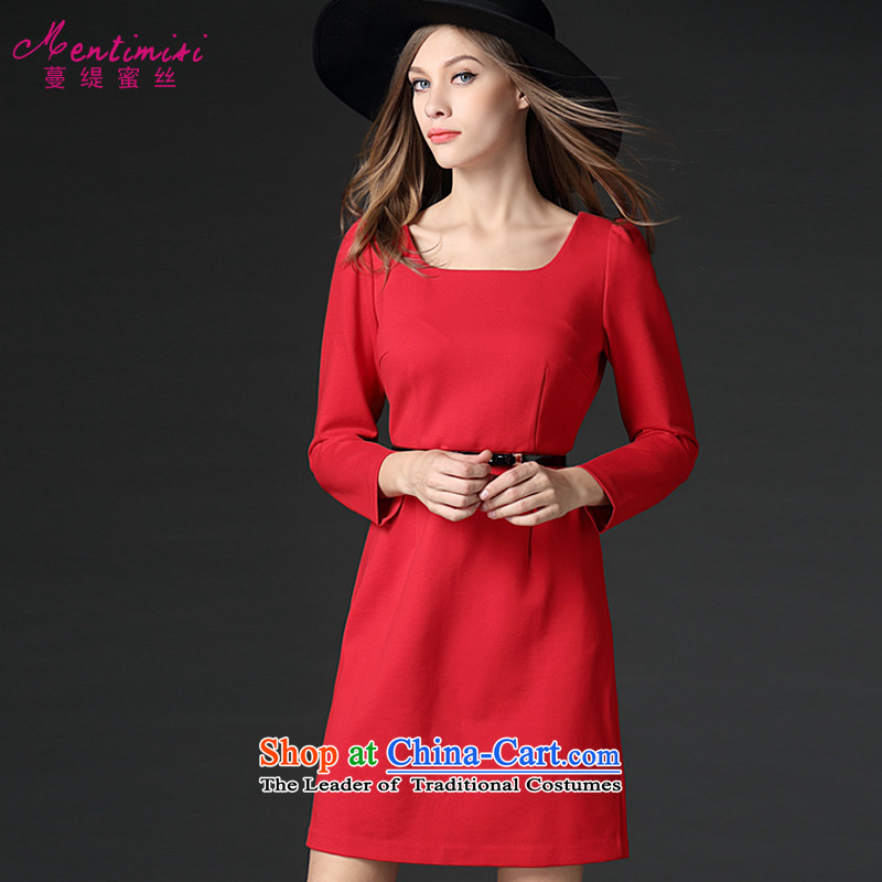 Overgrown Tomb economy's code honey female thick winter clothing to intensify the thick solid color video   Sister thin temperament dresses 2065 big red code 5XL around 922.747 200