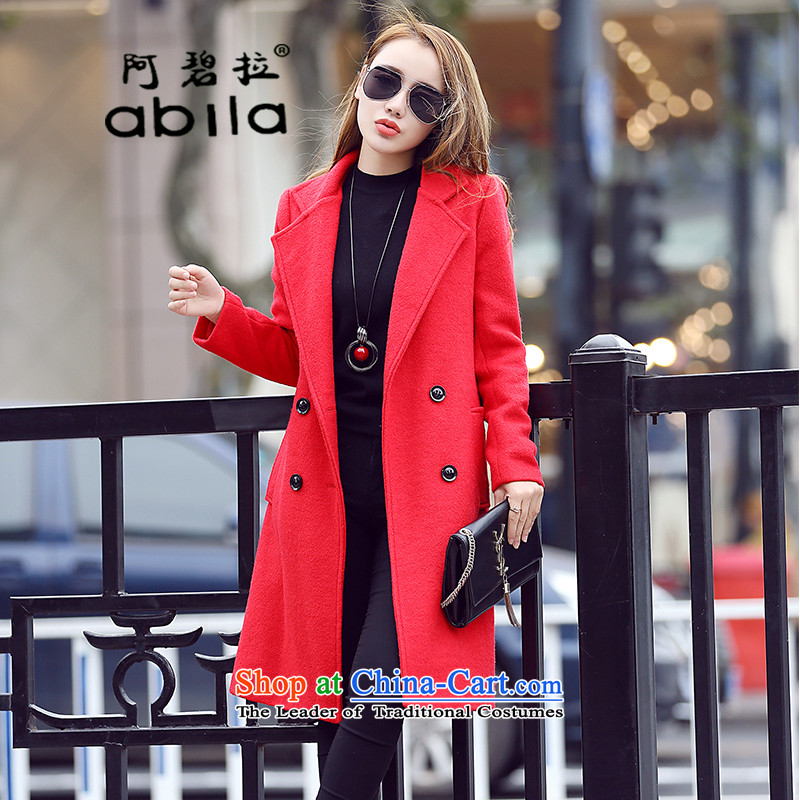 The drop-down in the Pik Long Hair? a jacket coat female Korean female Sau San large red jacket?M