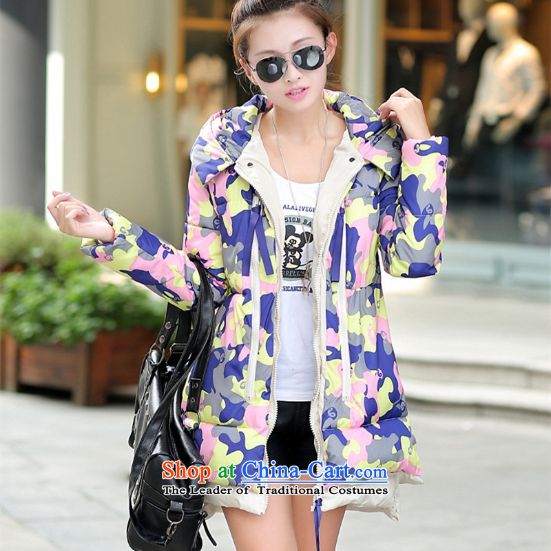 2015 winter clothing new Korean version of large numbers of ladies thick MM loose, Hin thin, thick cotton-thick sister in long thick winter Korea cotton coat down jacket燲XXL map color