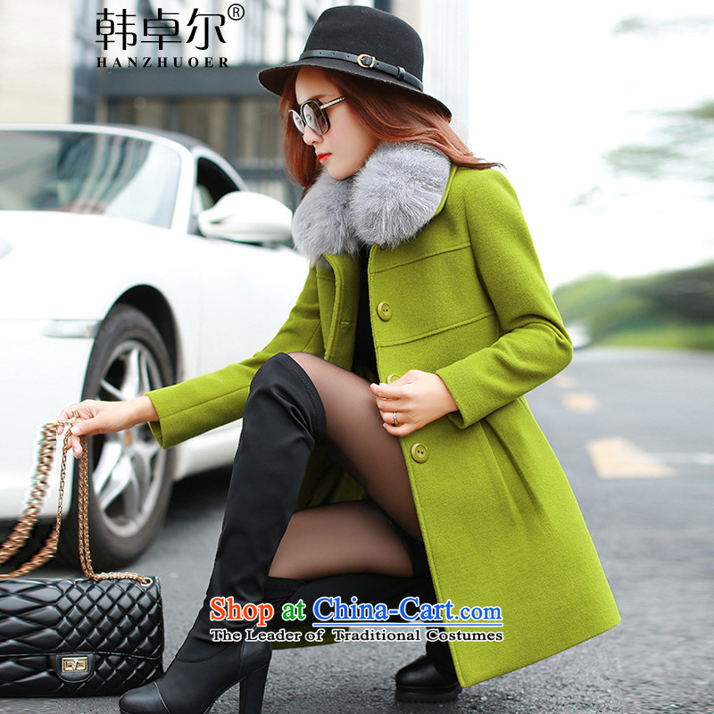 Korea's 2015 new products for autumn and winter female warm gross a wool coat FZ5048 GREEN燤