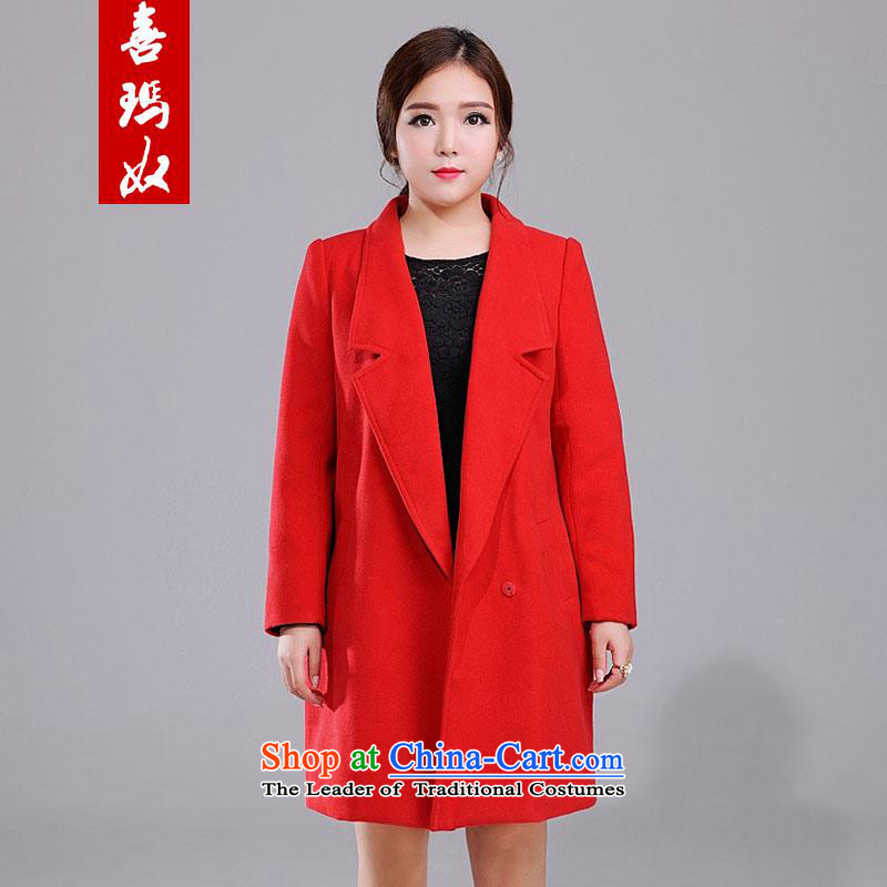 Hei Marguerite slavery 2015 Winter New Fat MM TO XL-sided flannel. long thin commuting video? Q984579 gross large red jacket coat 5XL code