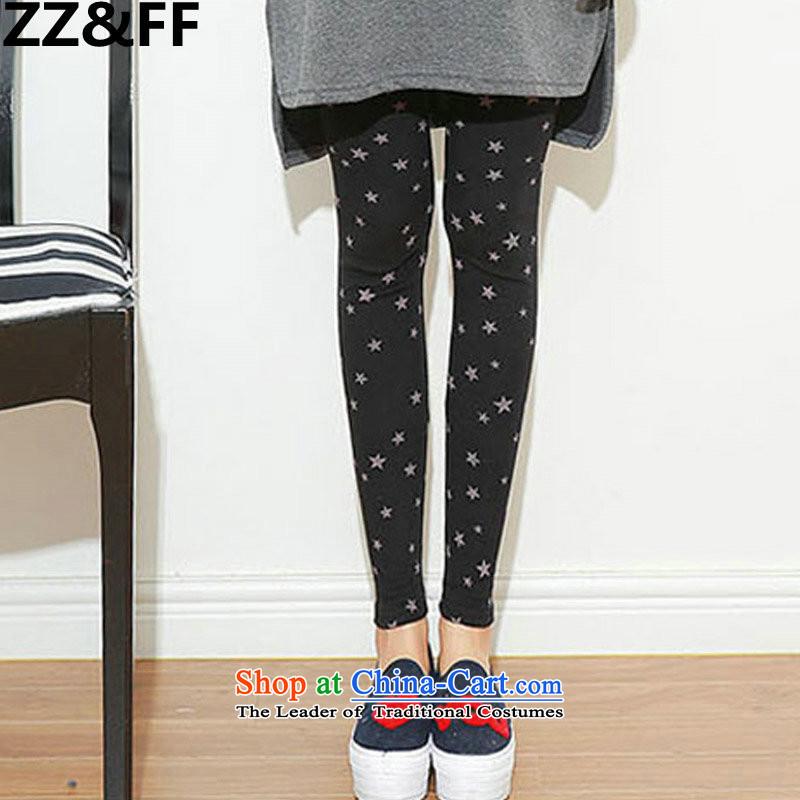 燭hick MM200 ZZ_FF catty 2015 autumn and winter to increase women's code plus extra thick solid stars trousers, lint-free warm black trousers燲XXXXL trousers