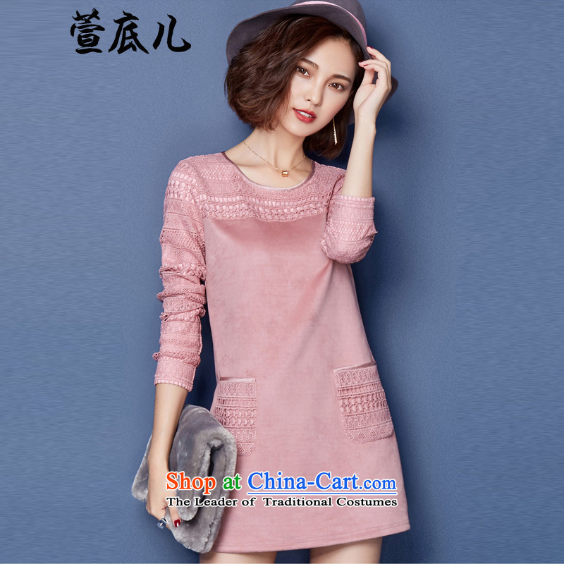 Mavis Fan bottom fall 2015, Korean fashion, forming the basis of the long-sleeved thick wool sweater in long lace pink shirt XL