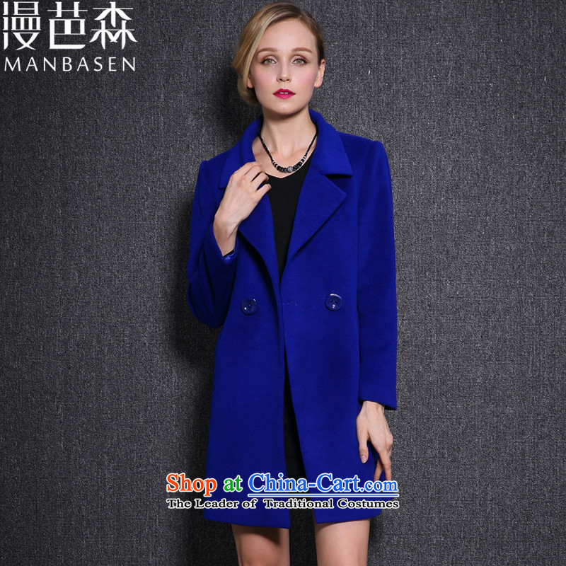 Diffuse and wool coat women so sum woolen coat autumn and winter new gross girls long coats?_? large sub female blue聽L