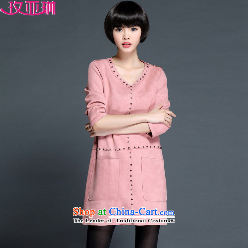 In the聽2015 Fall_Winter Collections Lin new fall for women on the new Korean winter loose extra thick MM long-sleeved dresses聽5440聽pink聽3XL pocket