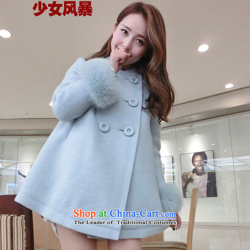 2015 Autumn and Winter Storm girls new gross coats thickened about ladies casual warm jacket material? Korean citizenry Sau San light blue L