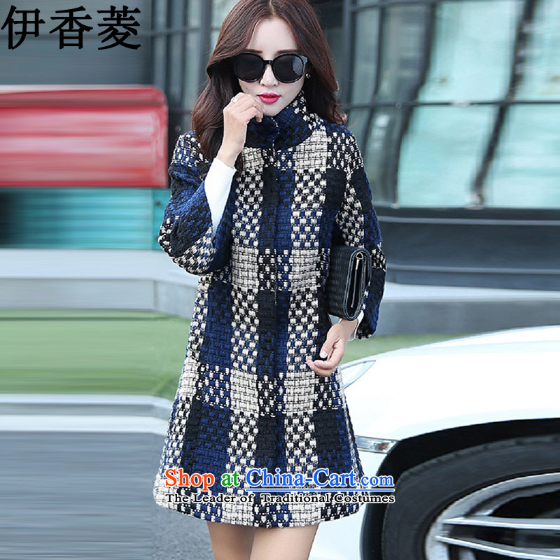 Ikago Ling spring and autumn 2015 new Korean wind in Europe and the         long thick tweed coats female燳8356爌icture color燲XL