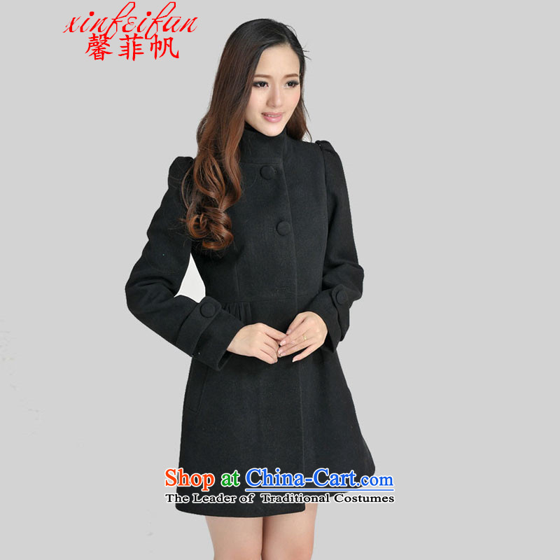 Xin Fei Fan 2015 autumn and winter new Korean sweet jacket coat?   Gross stylish girl in the video thin long coats black燣-ni