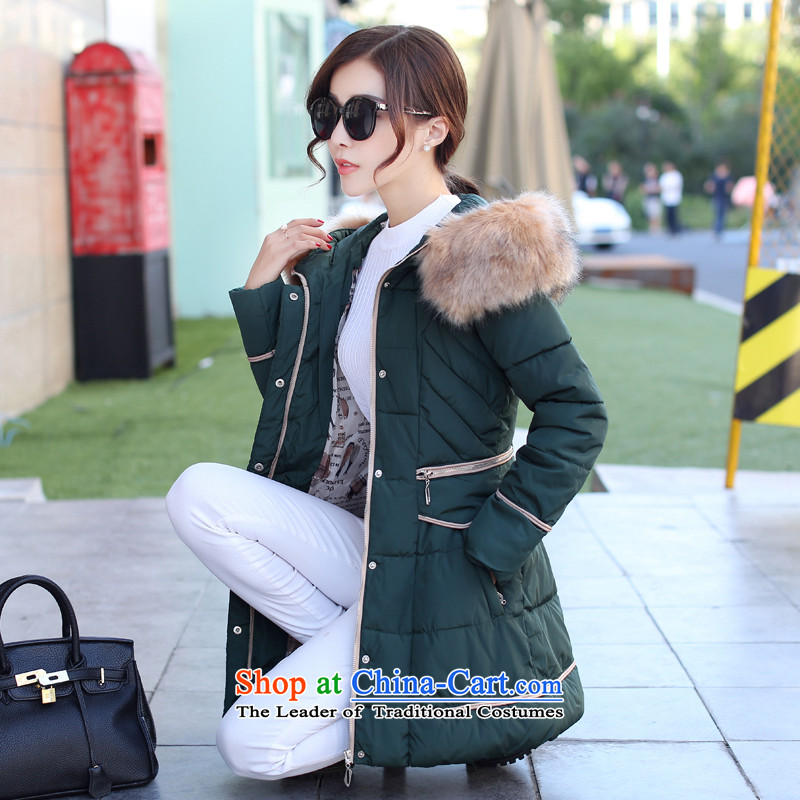 The Doi plus hypertrophy code women thick winter coats cotton MM 2015 new thick sister warm cotton coat 200 catties female green聽4XL recommendations 160-175 catty