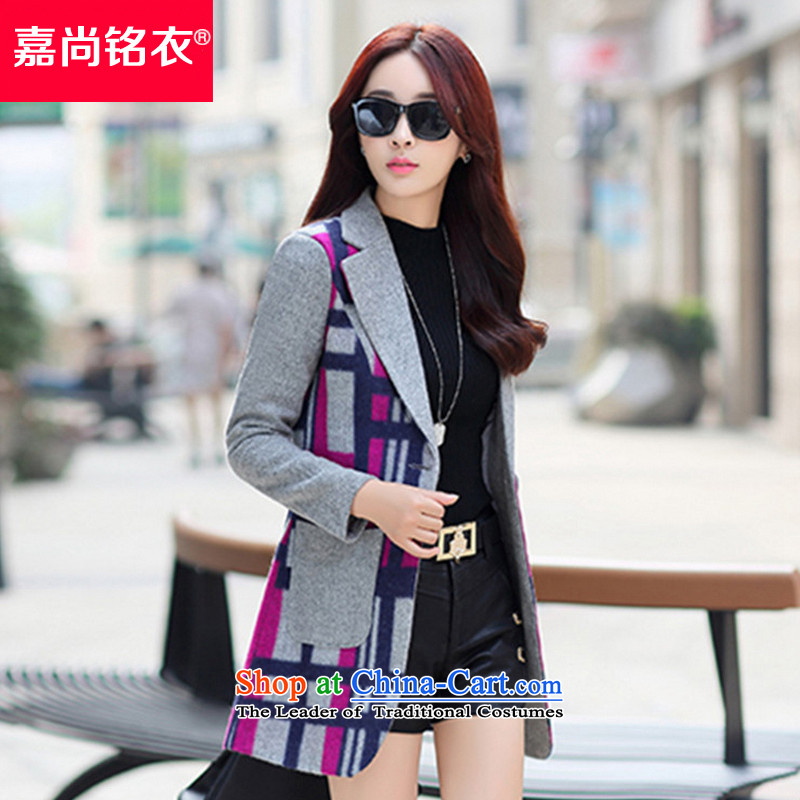 The Honorable Martin Lee Sang-ho yi 2015 autumn and winter New Women Korean fashion in Sau San?) gross jacket coat WT350 tartan daughter of red M