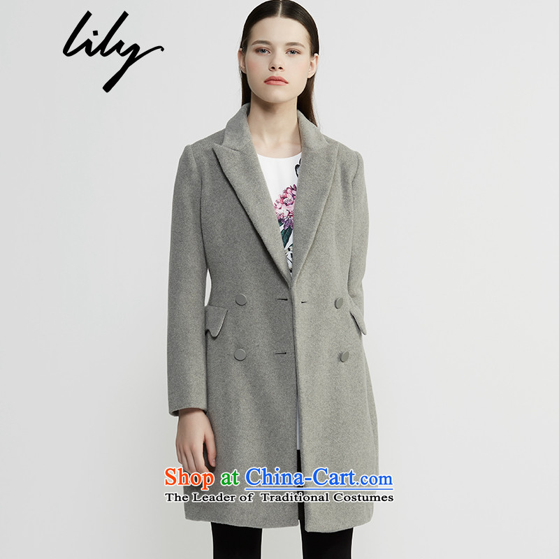 Lily2015 winter clothing decorated new women's body in pure color long hair female Korean jacket? 115490F1631 155_80A_S -507 Ma Gray