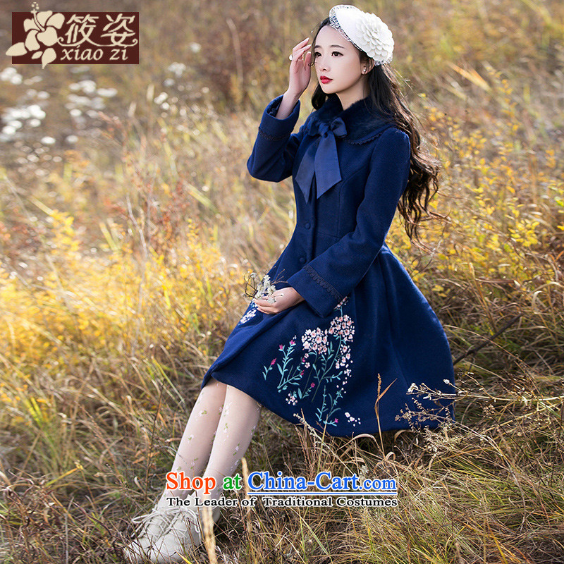 Gigi Lai Siu-flower on the incense shoulder the?new winter 2015 embroidered rabbit hair for long in this gross retro deep blue jacket Sau San?XL_ pre-sale 45 days_