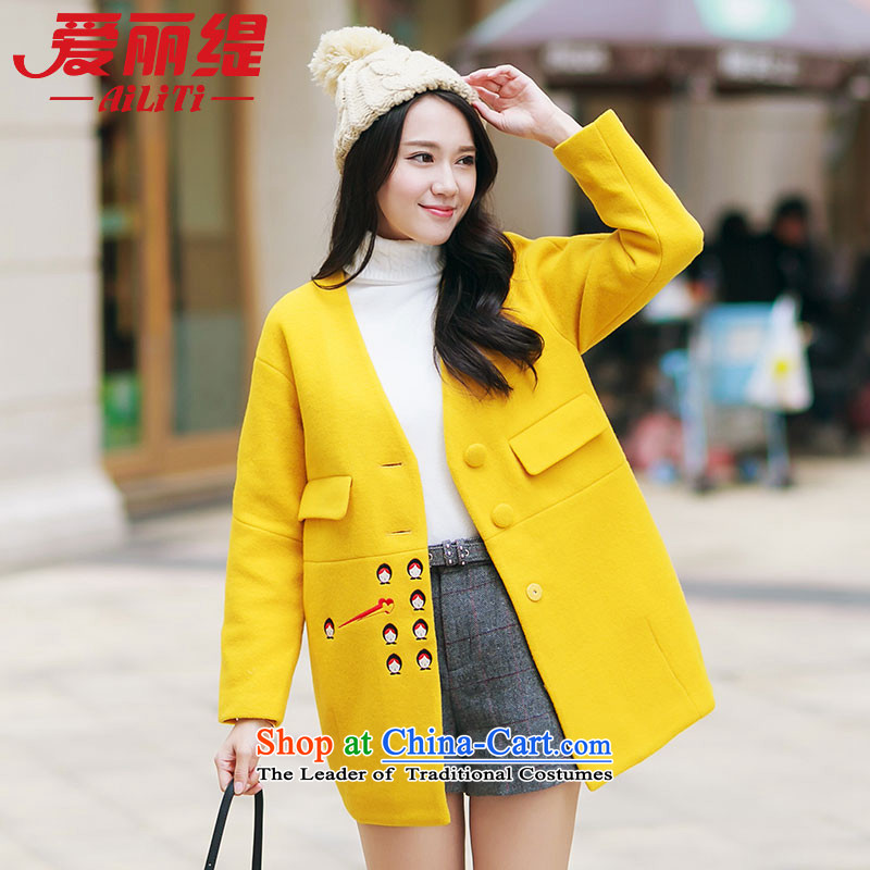 Christy Love 2015 autumn and winter new Korean embroidery? thick coat callus because Gross transition in long a wool coat women 3090 kaffir lime yellow燬 pre-sale on November 5