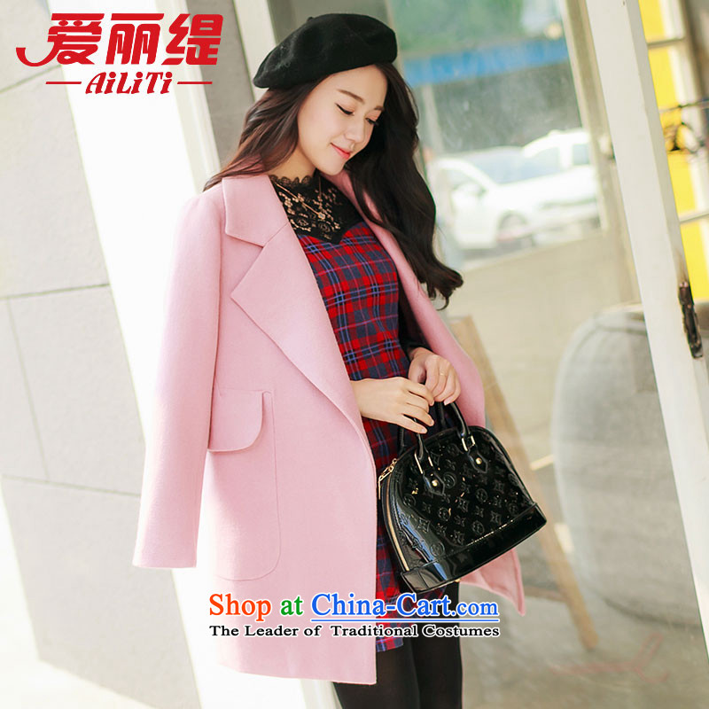 Christy Love 2015 autumn and winter New Sau San lapel medium to long term gross jacket pockets? solid color a wool coat female pink M is expected issued on 5 November