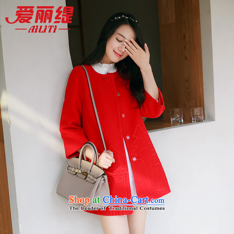 Christy Love 2015 autumn and winter new round-neck collar small Heung-embroidery gross? jacket temperament a wool coat D3089 female red?S pre-sale on November 22