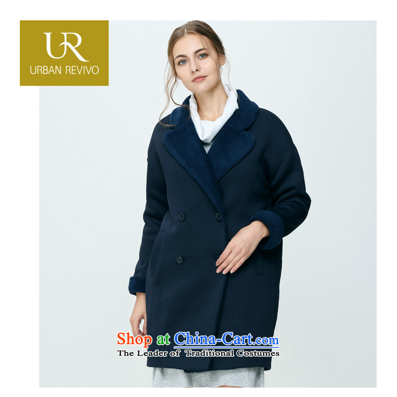 Ur charm female winter new double-jacket coat WG14D47R1GN001 lapel of dark blue燣