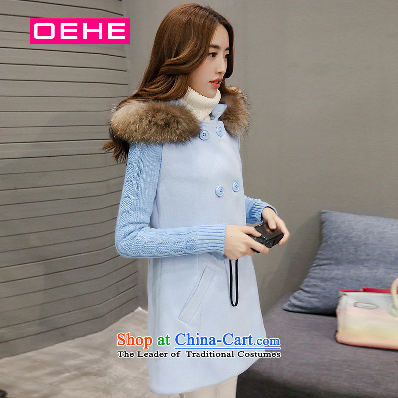 Oehe 2015 winter clothing new Korean version in Sau San long jacket, female video thin long-sleeved really gross collar cap Gross _with a blue coat? Really gross collar_ M