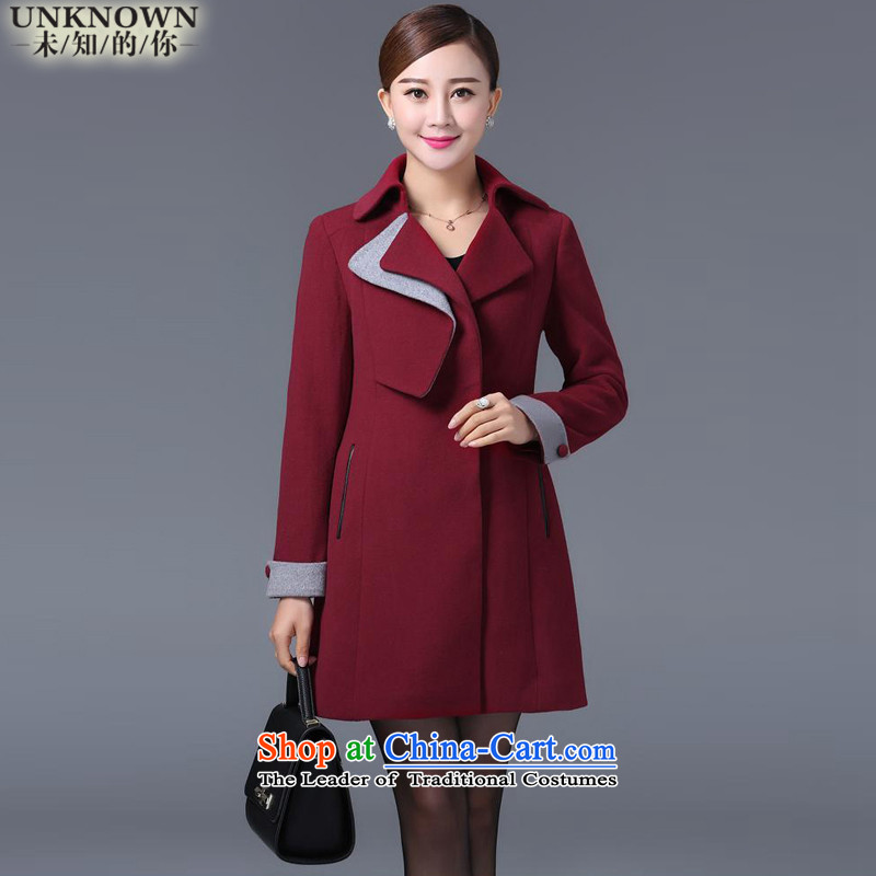 Unknown you? In gross coats of?autumn and winter 2015 New Women Korean lapel dual Sau San a female?W1032 jacket?RED?M