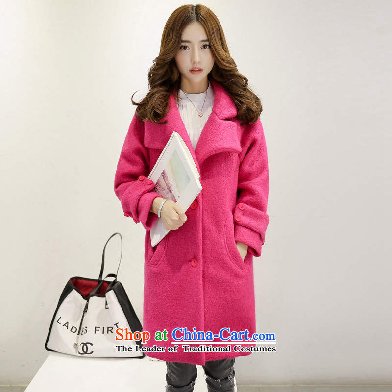 The Korean version of the stylish solid color jacket coat of wool? RED燤