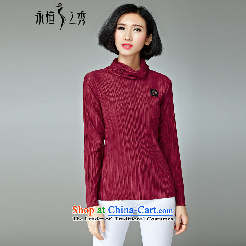 The Eternal Soo-to increase women's code t-shirts, forming the Netherlands 2015 Fall_Winter Collections of new products, Hin thin, thick high collar thick MM sister warm T-shirt long-sleeved shirt chestnut horses?2XL