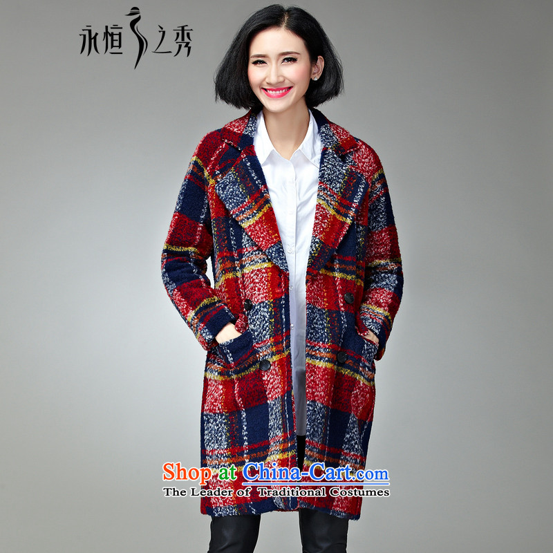 The Eternal Soo-to increase women's code gross? 2015 winter coats thick, Hin thin new Fat MM sister tartan sub-coats that long hair red and blue jacket??4XL