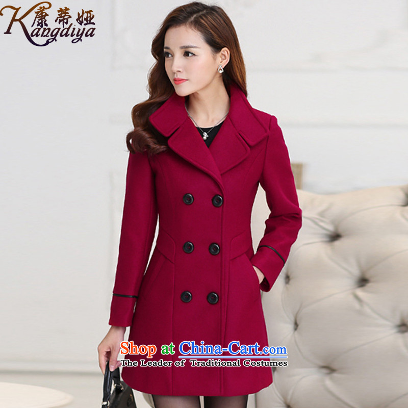 Contee Tarja Halonen of autumn and winter 2015 New Women Korean Wave Sau San long long-sleeved a wool coat jacket 895_ gross? wine red?M