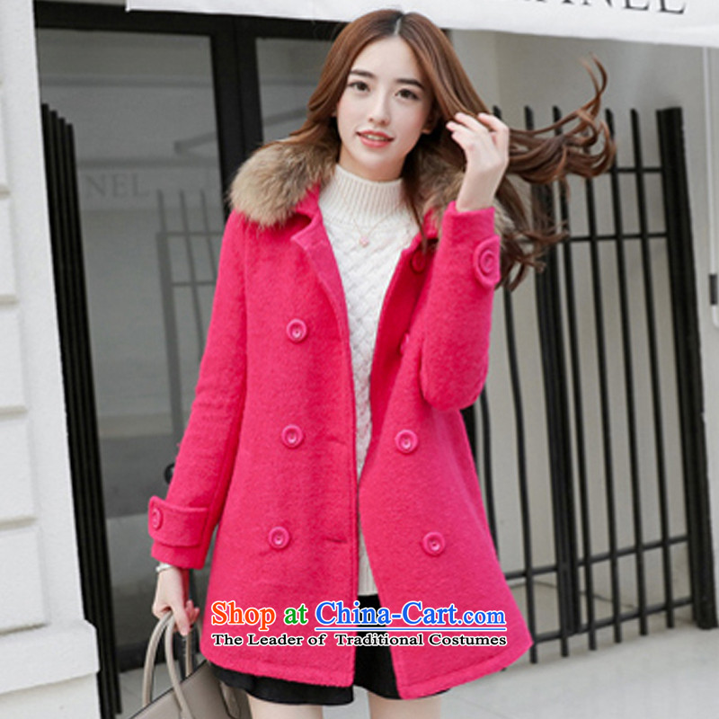 Lady in temperament long coats of gross? red L