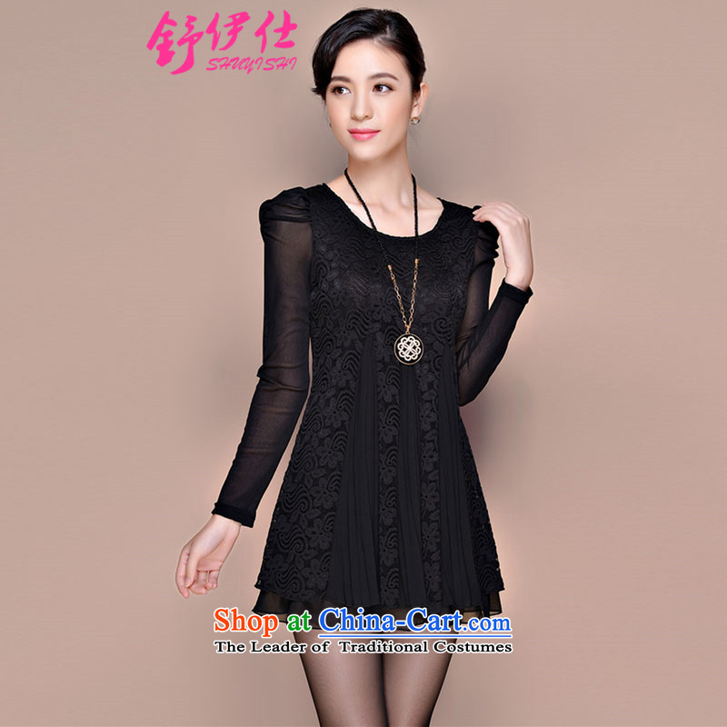 Schui Sze autumn and winter load new products very large code is loaded in the thick-mei long long-sleeved shirt, forming the lace video women thin ice woven shirts warm clothes xlarge dresses XXXL black