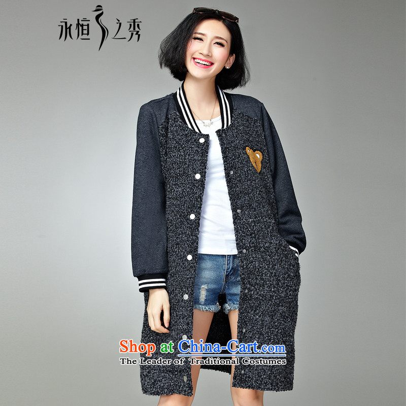The Eternal Soo-to increase women's code gross coats jacket thick sister? MM2015 Fall_Winter Collections Korea cartoon version thick, Hin thin hair? butted long new flower 3XL Gray