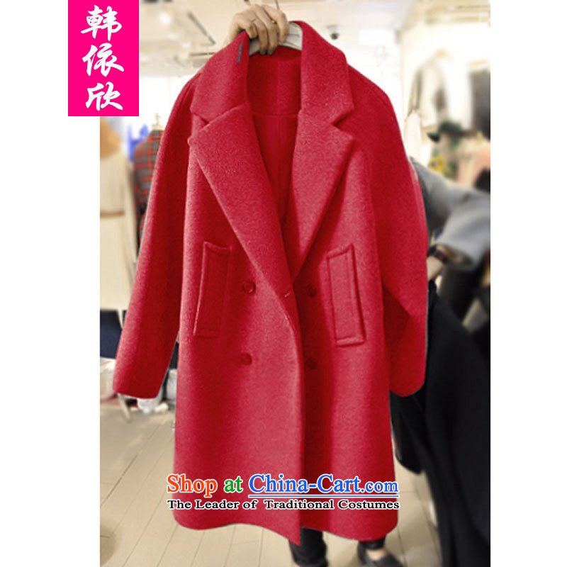 According to the Korea Yan mm2015 thick hair fall_winter collections jacket to? xl women's sister in autumn and winter thick long a wool coat燲XXXL red
