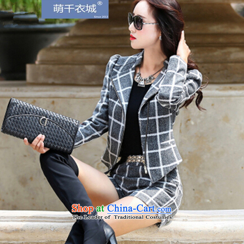 Thousands of Yi�15 autumn and winter new Korean fashion ladies casual gross? kit female two kits ZT2320 Grid Gray. L paras. 105-115_ the burden of recommendations