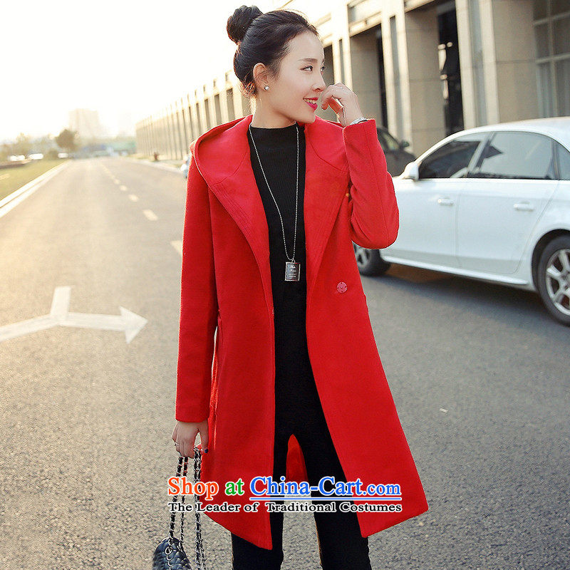 Sin has won the new version of the winter 2015) Loose stylish Sau San warm currents pure color Long Hair Girl red cloak? M
