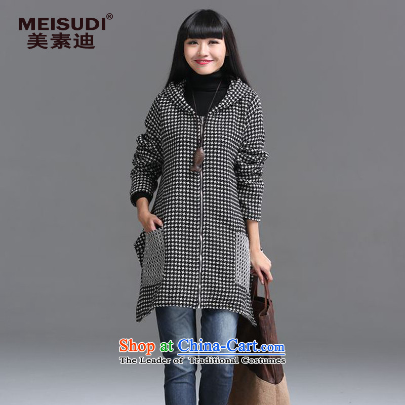 2015 Autumn and Winter Korea MEISUDI version of large code ladies casual relaxd graphics thin cap latticed wild windbreaker pocket long jacket, picture color grid XL