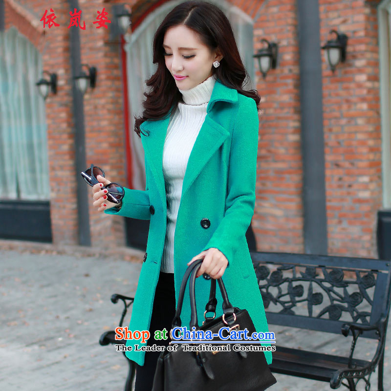 According to the sponsors Gigi Lai 2015 Fall_Winter Collections Korean girl who decorated large character codes in the thin long graphics gross a wool coat jacket thick green L