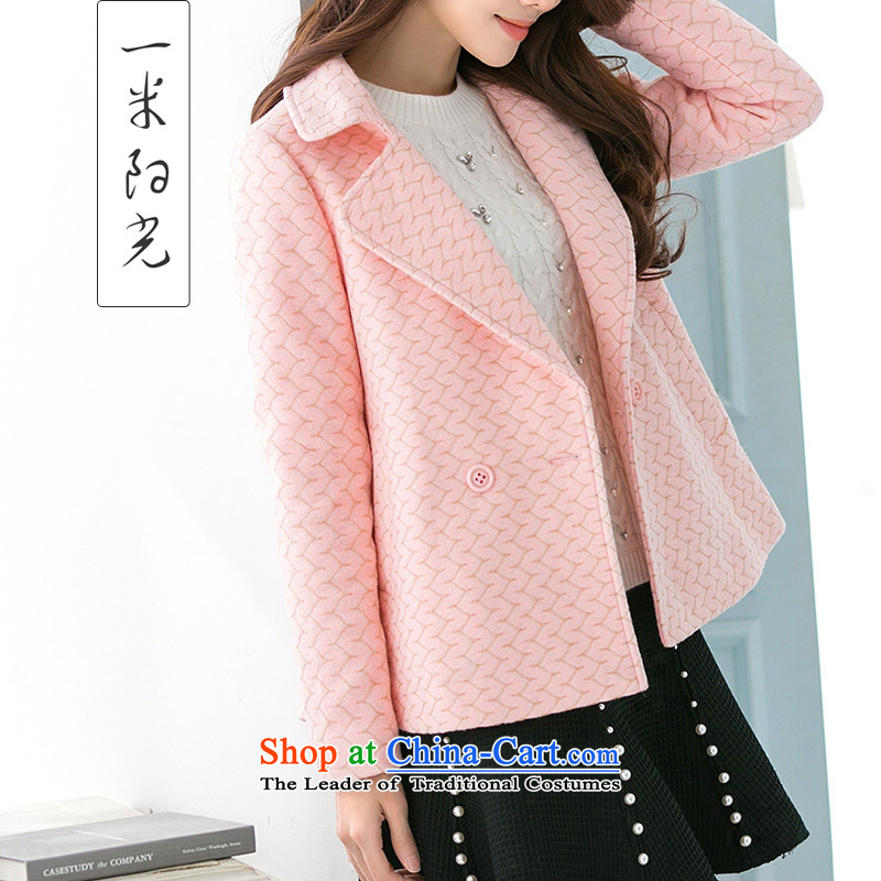 One meter Sunshine  2015 Fall_Winter Collections female new short of Korean jacket? small wind-coats of incense female pink M