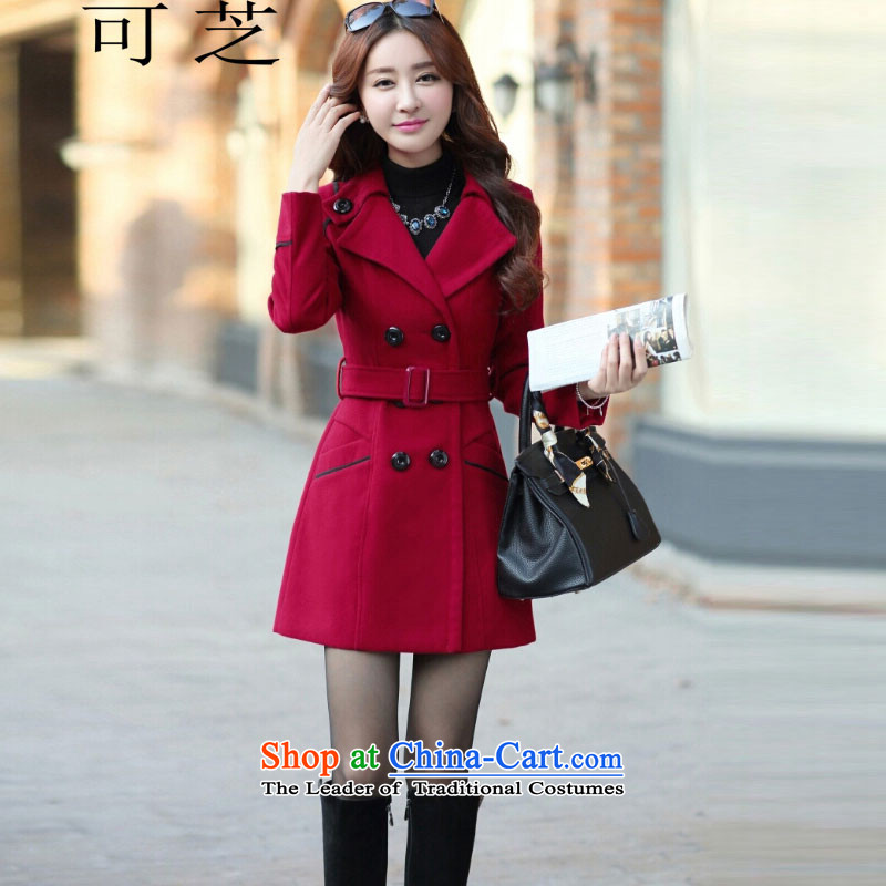 To Chi 2015 autumn and winter new Korean girl who decorated in long jacket? gross shirts gross coats female deep red?M