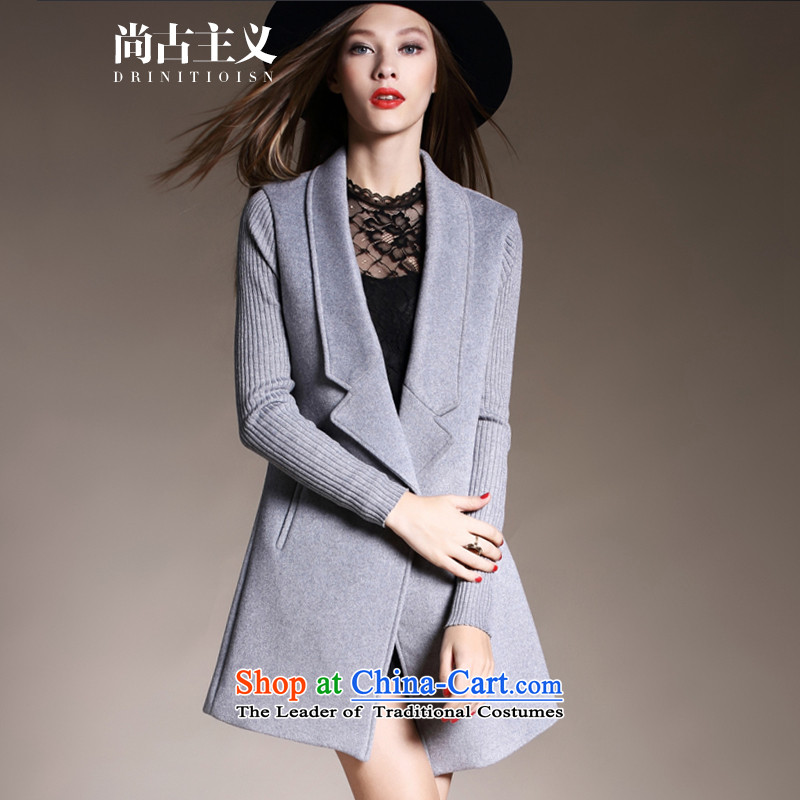 Cyangugu, 2015 autumn and winter new European and American Women's solid color jacket in gross? long 9 cuff a wool coat gray燤