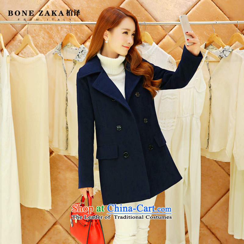 2015 Autumn and winter new gross? jacket a wool coat girl in long thin leisure korea video Sau San edition temperament and stylish double-feeder for larger flip navy S