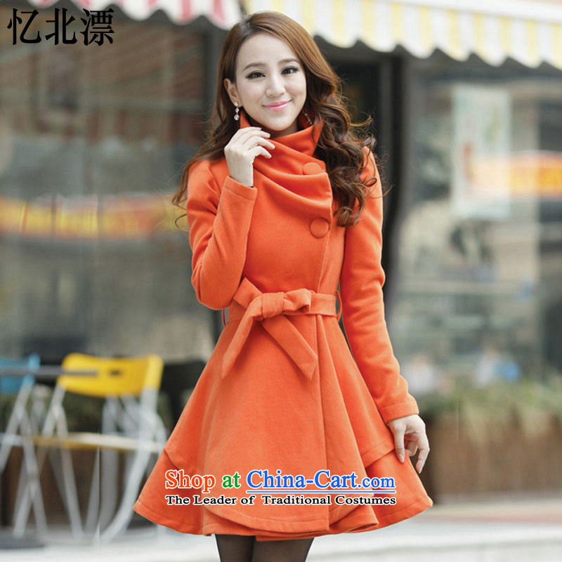 Recalling that the 2015 Autumn and Winter North drift-reload Korean women in sweet long hair? large graphics thin coat lapel of long-sleeved a wool coat women 3628 Orange Red燤