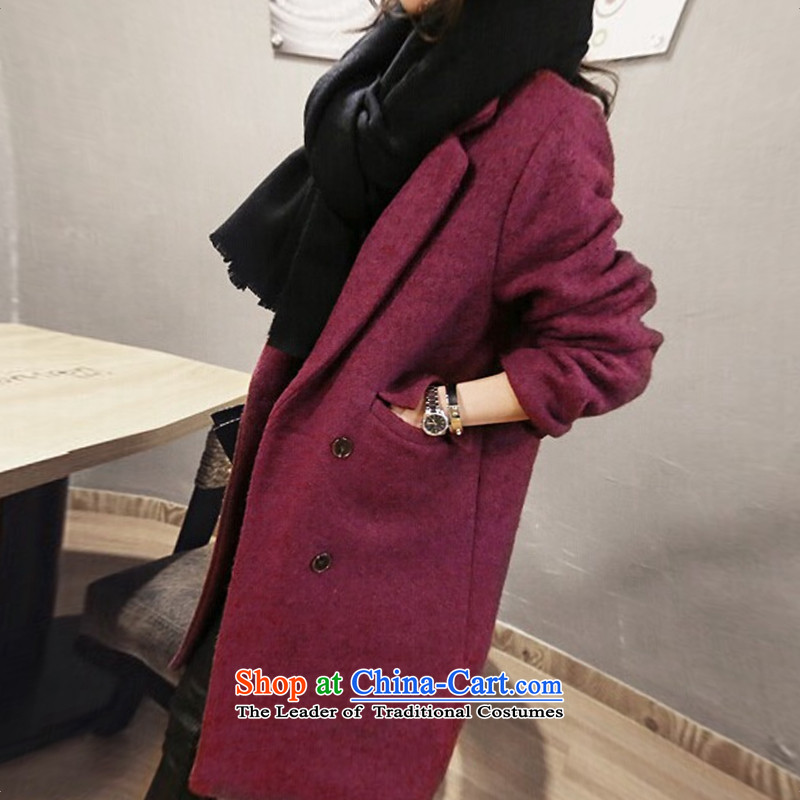 The Korean version of a straight jacket coat? female wool over the medium to longer term, wine red聽M