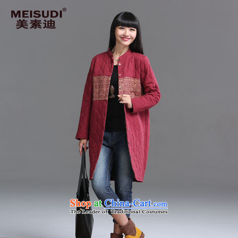 2015 Autumn and Winter Korea MEISUDI version of large numbers of ladies arts van collar clip cotton waffle warm relaxd graphics, long-jacket, thin wine red燲XL