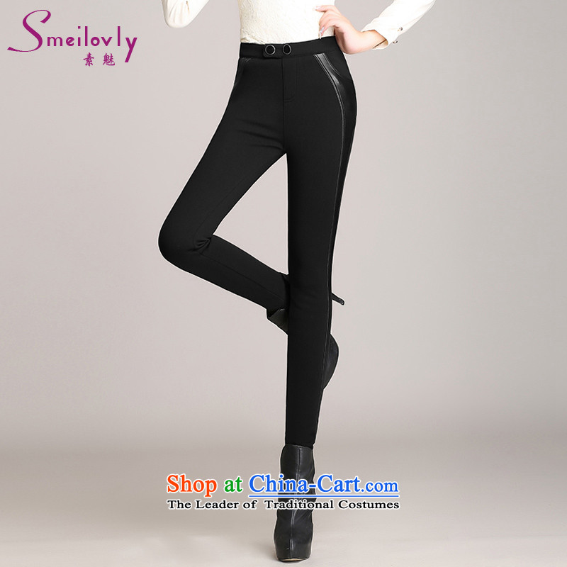 The Dumping 2015 warm winter castor trousers plus lint-free thick xl female PU leather pants stitching graphics thin elegant sexy trousers   8511 Black 2XL   recommendations usually it will seriously