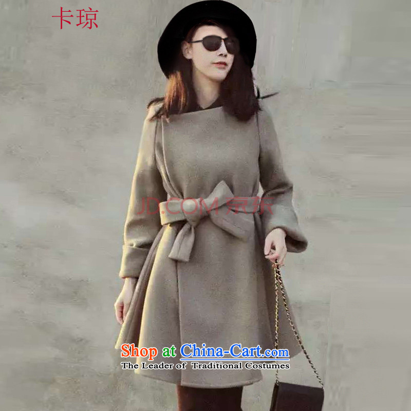 Cachon聽2015 autumn and winter new Korean version in the Sau San long double-a wool coat jacket female gray hair?聽M