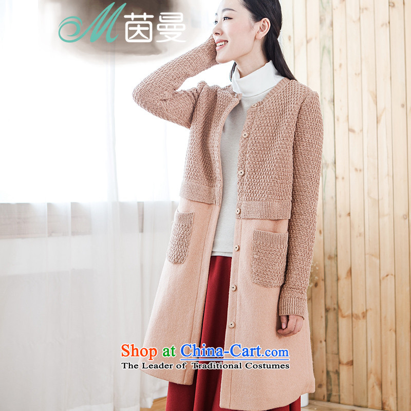Athena Chu Cayman�15 winter clothing new minimalist knitting stitching long coats_??- 8543210142 _female coats light brown WONG燣
